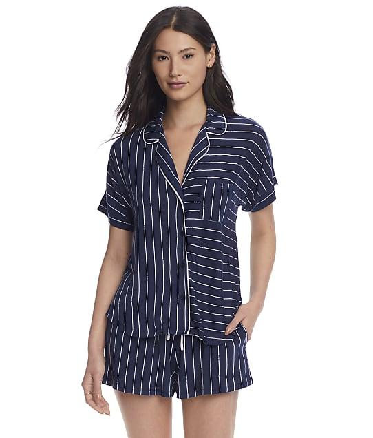 DKNY Sleepwear Knit Pajama Shorts Set in Dive Stripe(Front Views) Y2822475