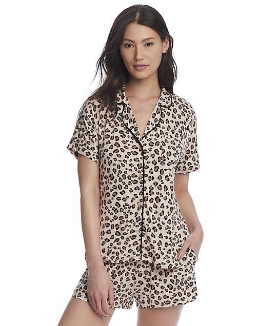 DKNY Sleepwear Knit Pajama Shorts Set in Tan Animal Y2822475