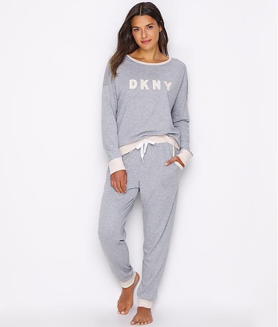 DKNY Sleepwear New Signature Knit Pajama Set in Heather Grey Y2919259-HGR