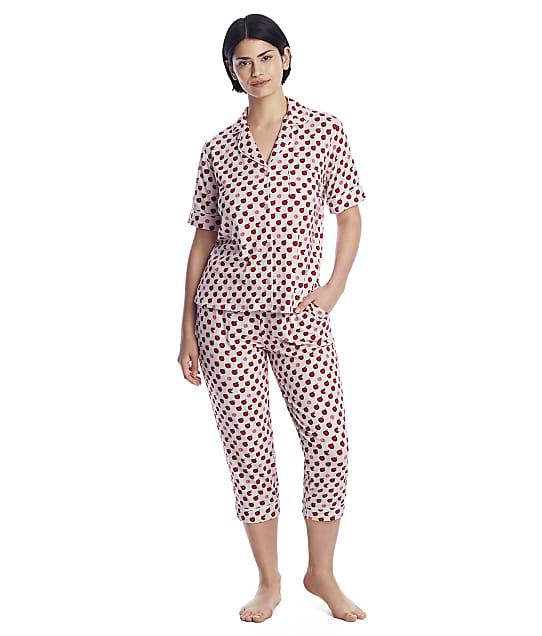DKNY Sleepwear Knit Cropped Pajama Set in Pink / Novelty Y2922473