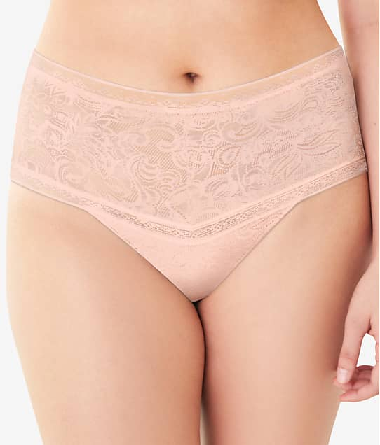 Maidenform Tummy Smoothing Lace Thong in Sheer Pale Pink(Front Views) DMTSTG