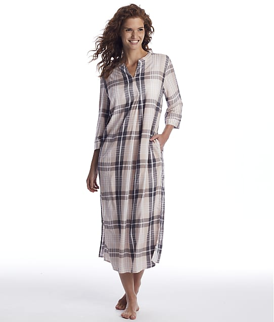 Donna Karan Sleepwear: Shell Heather Plaid Maxi Sleep Shirt
