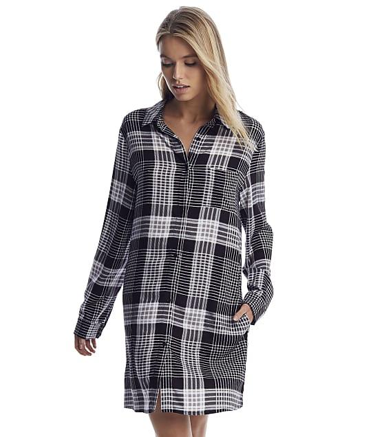 Donna Karan: Black Plaid Woven Sleep Shirt