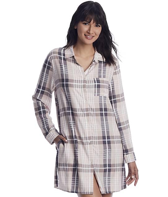 Donna Karan Sleepwear: Shell Heather Plaid Woven Sleep Shirt