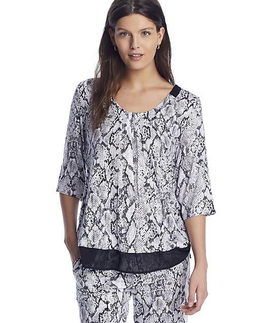 Donna Karan Sleepwear Fashion Classics Modal Sleep Top in Grey Animal(Front Views) D3423328