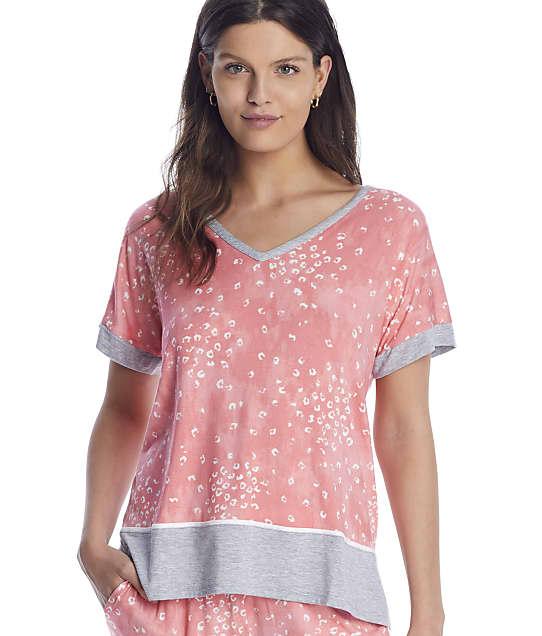 Donna Karan Sleepwear Endless Effortless Modal Sleep Top in Coral Animal(Front Views) D3423334