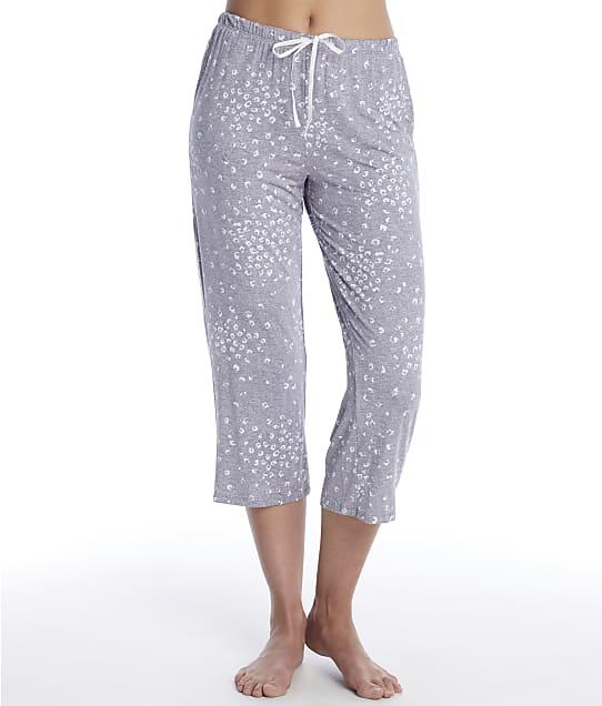 Donna Karan Sleepwear Endless Effortless Modal Sleep Capri in Grey Heather Animal(Front Views) D3723334