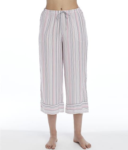 Donna Karan Sleepwear Tonal Eclipse Capri Pajama Pants in White Stripe D3723336