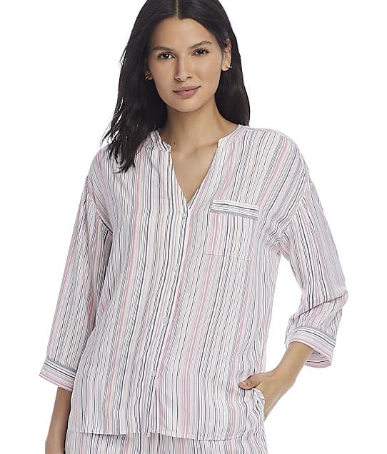 Donna Karan Sleepwear Tonal Eclipse Button-Down Pajama Top in White Stripe D3423336