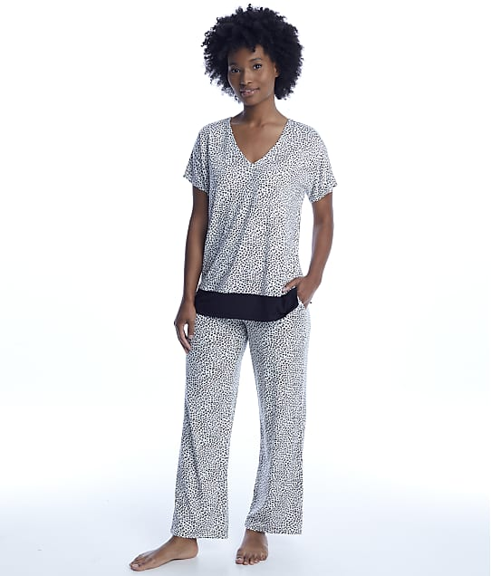 Donna Karan: Cream Animal Print Pajama Set