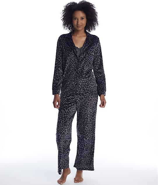 Donna Karan: Charcoal Animal Velour Pajama Set