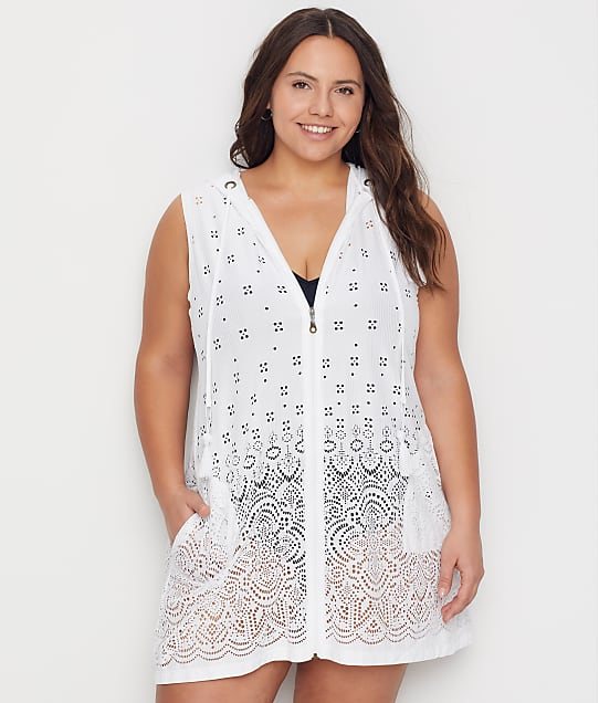 Dotti Plus Size Gypsy Gem Hooded Swim Cover-Up in White DTGGC1X0