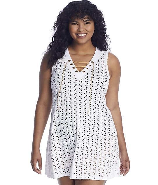 Dotti Poplar Skies Lace-Up Tank Cover-Up in White DTPSC101