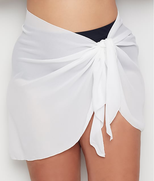 Dotti Plus Size Summer Sarong Short Pareo Cover-Up in White(Front Views) DTSSC1X0