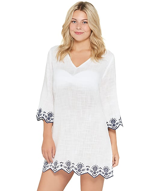 Dotti Rosemary Embroidered Caftan Cover-Up in White DTREC100