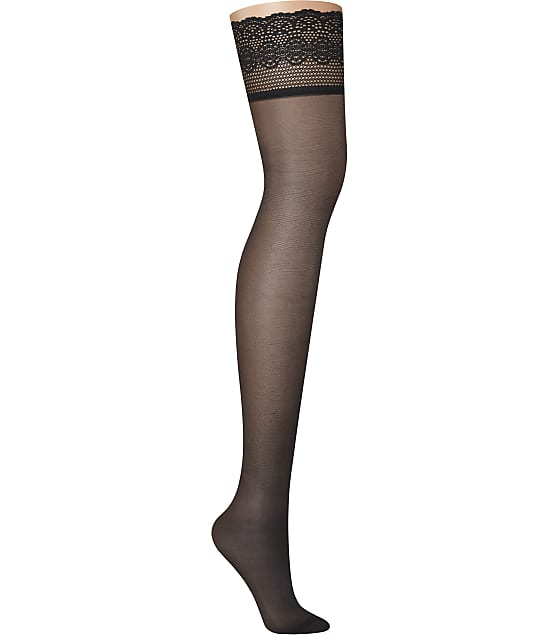 DKNY Sheer Lace Thigh Highs in Black DYS024