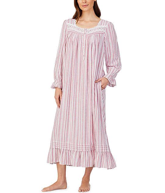 Eileen West: Wine Stripe Ballet Flannel Nightgown