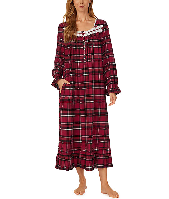 Eileen West Berry Plaid Ballet Flannel Nightgown in Berry Plaid E5020126-PLA