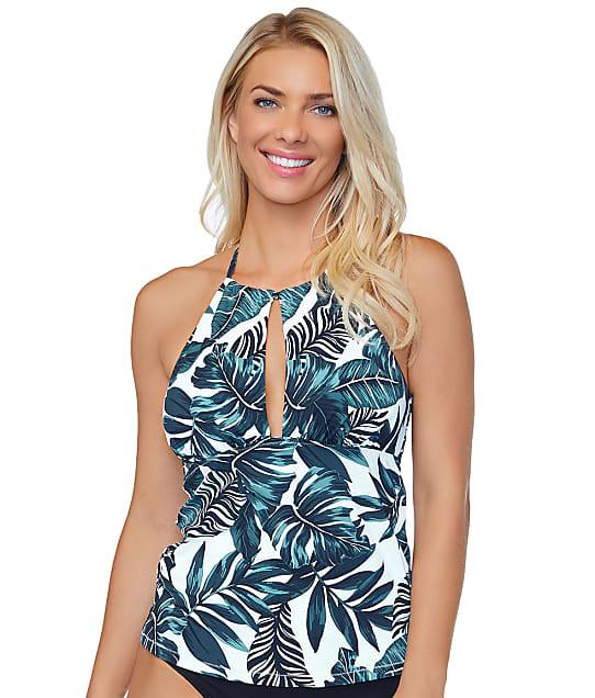 Leilani North Shore Tropics Tankini Top in White(Front Views) E720508
