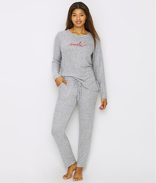 ED Ellen DeGeneres Smile Knit Pajama Set in Heather Grey E70034