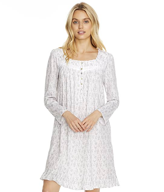 Eileen West Cotton Jersey Short Gown in Grey Print C5520180