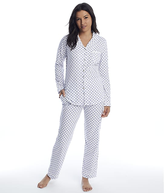 Eileen West: Blue Geo Knit Pajama Set