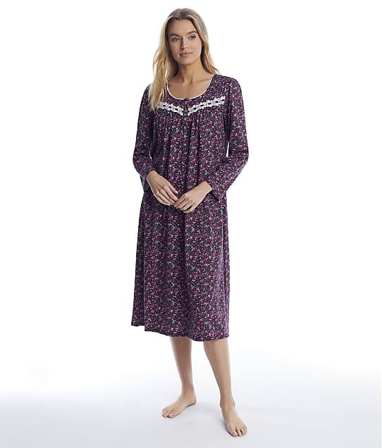Eileen West: Black Floral Ballet Knit Nightgown