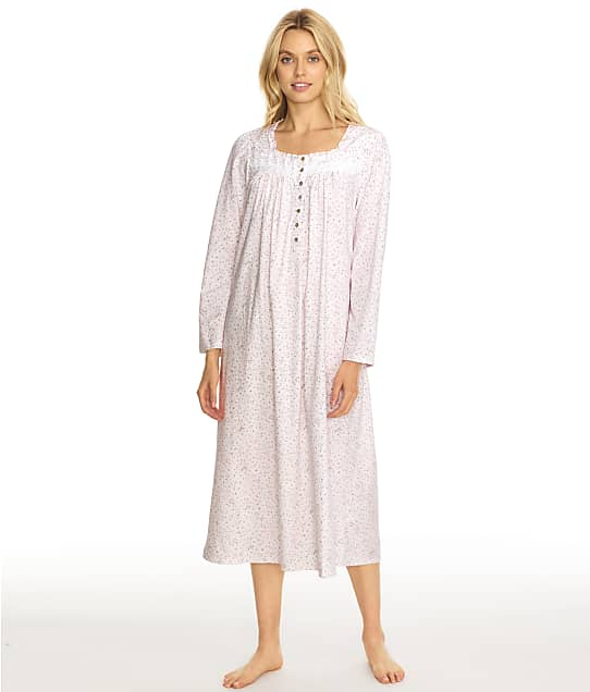 Eileen West Floral Cotton Jersey Long Nightgown in Pink Multi C5820180