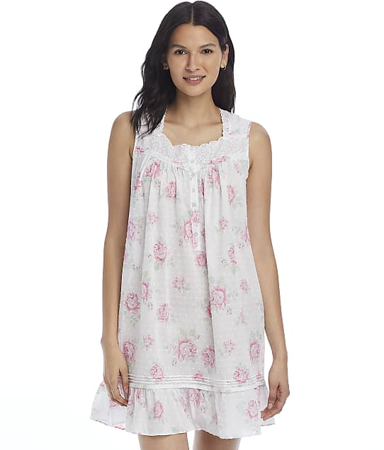 Eileen West Floral Woven Short Chemise in Large Floral E5320149