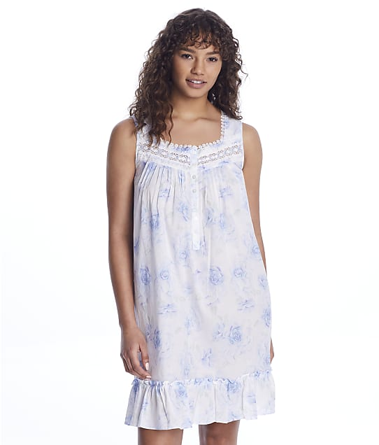 Eileen West Woven Short Chemise in Blue Floral E5320155