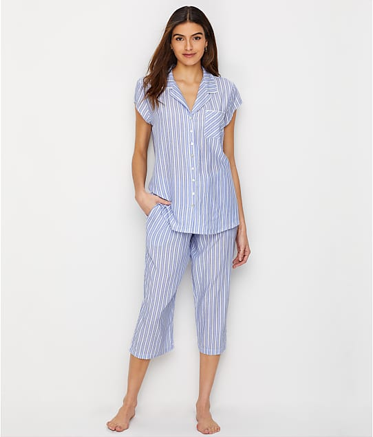 Eileen West: Striped Woven Cropped Pajama Set