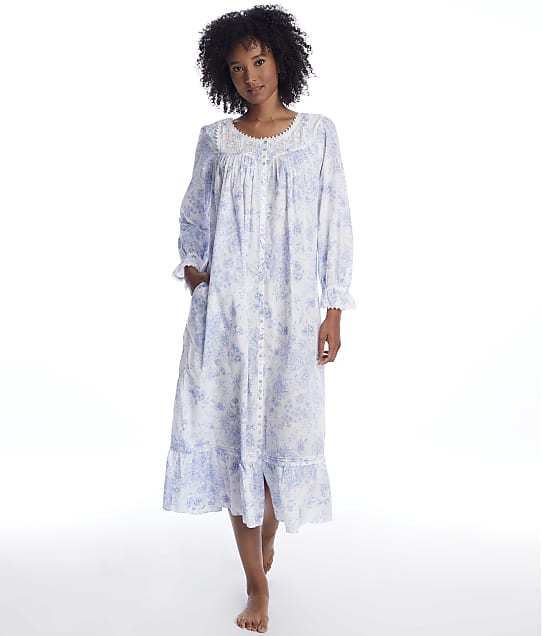 Eileen West: Blue Danube Ballet Button Front Woven Nightgown