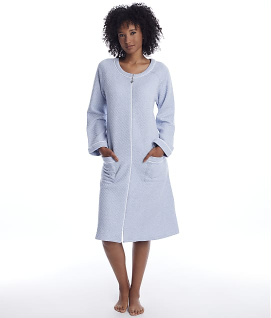 Eileen West: Quilted Long Zip Plush Robe