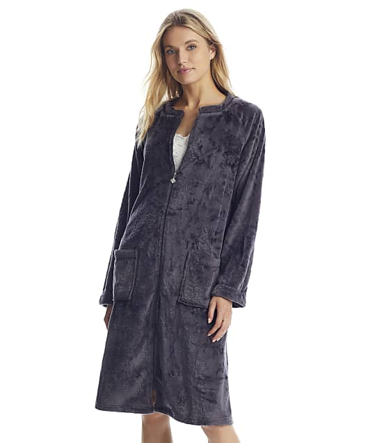 Eileen West: Charcoal Zip-Up Plush Robe