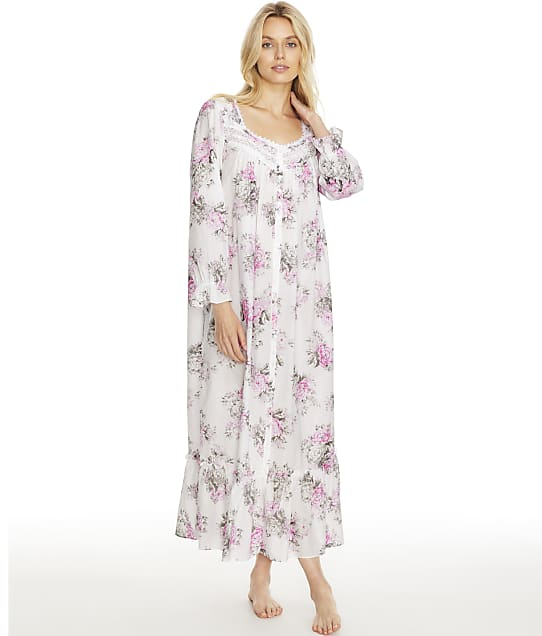 Eileen West Cotton Lawn Ballet Button-Front Woven Robe in Grey Rose Floral E5820175