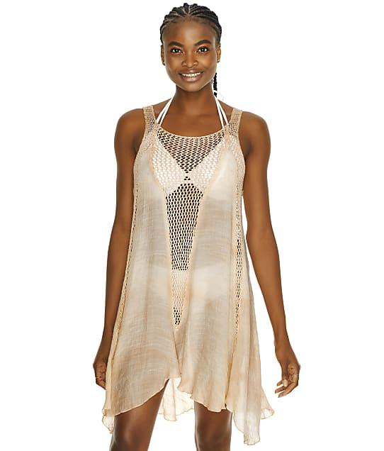 Elan Tie Dye Crochet Cover-Up in Melon CRT5145