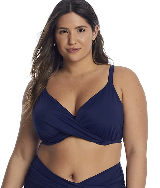 Elomi Plus Size Magnetic Wrap Underwire Bikini Top in Midnight(Front Views) ES7193