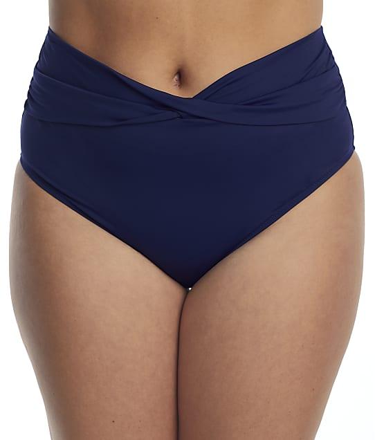 Elomi Plus Size Magnetic Twist Bikini Bottom in Midnight(Front Views) ES7196