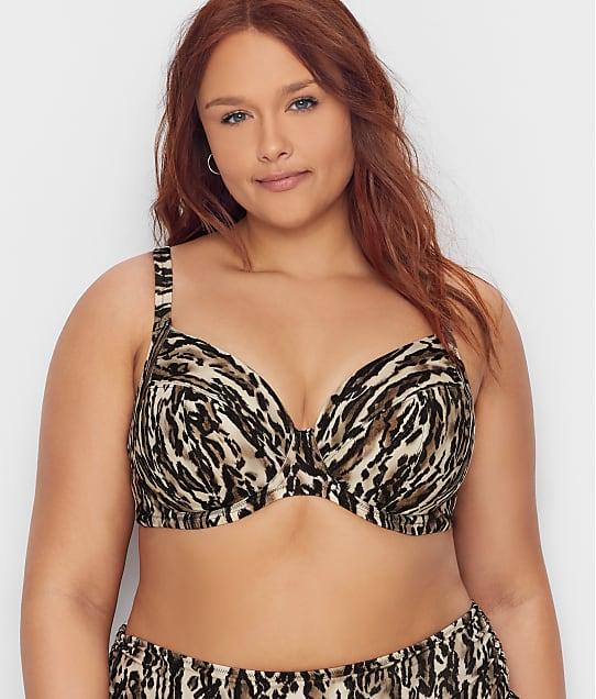 Elomi Plus Size Fierce Plunge Bikini Top in Black(Full Sets) ES7202