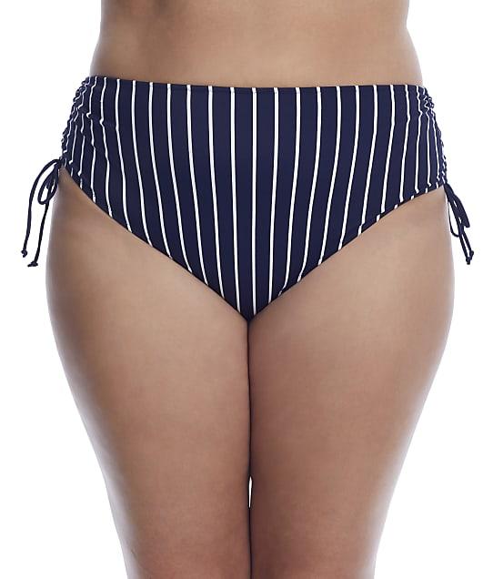 Elomi Plus Size Plain Sailing Side Tie Bikini Bottom in Midnight Stripe(Front Views) ES7277