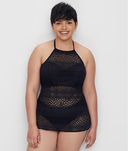 Elomi: Plus Size Indie Crochet Wire-Free Tankini Cover-Up