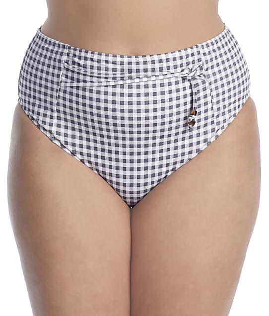 Elomi Plus Size Checkmate Full Bikini Bottom in Grey Marl(Front Views) ES800371