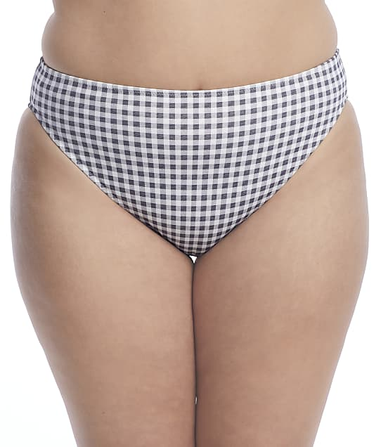 Elomi Plus Size Checkmate Mid-Rise Bikini Bottom in Grey Marl(Front Views) ES800372