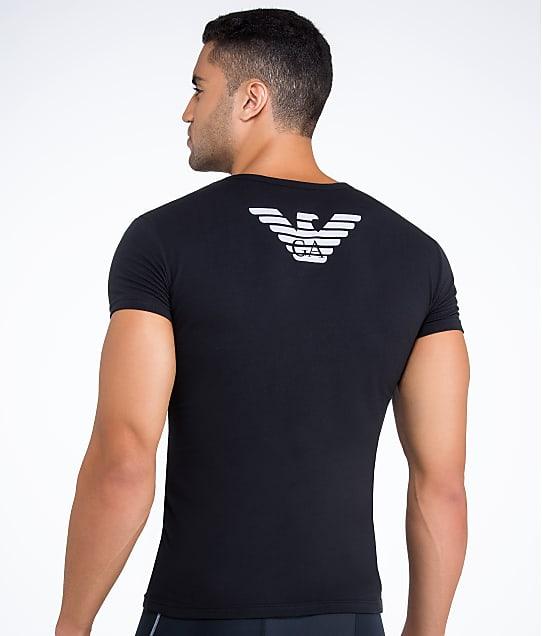 Emporio Armani: Eagle Stretch Cotton V-Neck T-Shirt