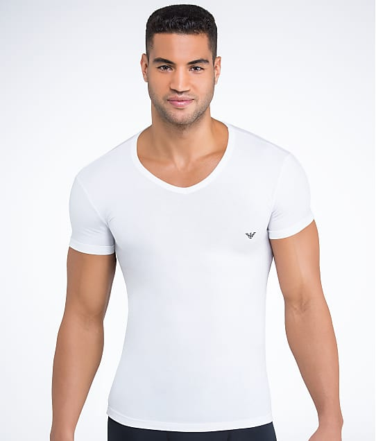 Emporio Armani: Eagle Stretch Cotton V-Neck T-Shirt