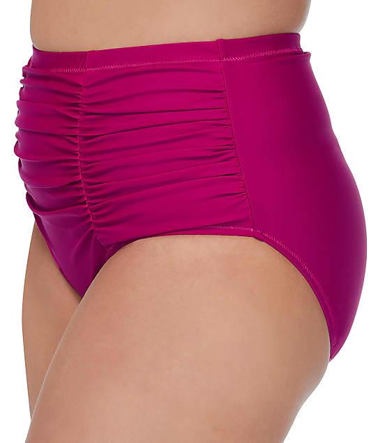 Raisins Curve Plus Size Dicante Solid Costa High-Waist Bikini Bottom in Pink F840061