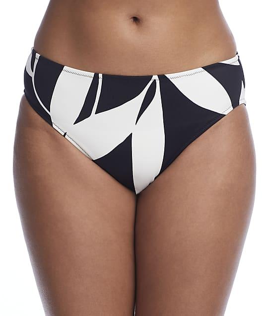 Fantasie Ile De Re Mid Rise Bikini Bottom in Black Cream(Front Views) FS500972