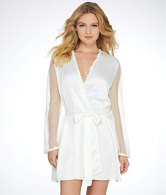 Flora Nikrooz Showstopper Charmeuse Robe in Ivory(Front Views) 8061