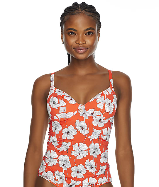 Freya Hibiscus Beach Underwire Tankini Top in Sunset(Front Views) AS201256