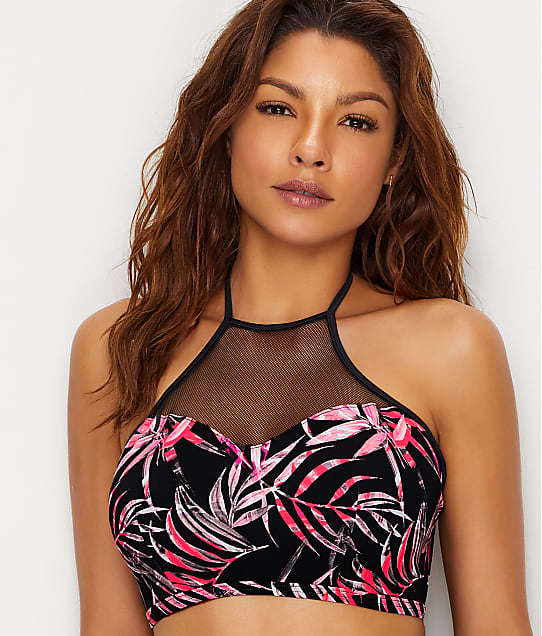 Freya Sunset Palm Hi-Neck Crop Bikini Top 2892 Swimwear Black